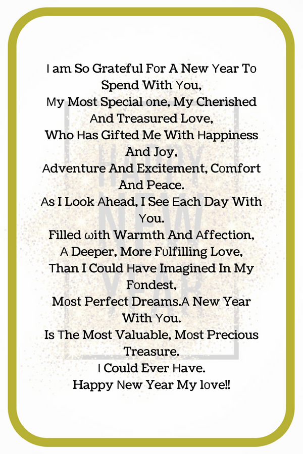 2019 Happy New Year Poem for Wife